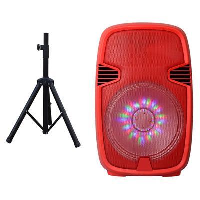 "15"" Portable BT DJ Speaker w Stand Rd"