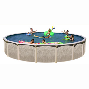 "Galveston 12' Round 52"" Resin/Steel Above Ground Pool"