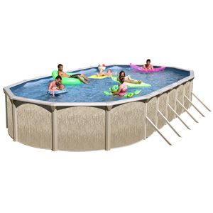 "Galveston 52"" Deep Standard Oval Resin/Steel Above Ground Pool, 33' x 18'"