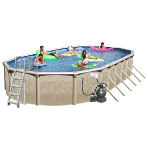 "Galveston 30' x 15' Oval 52"" Above Ground Complete Deluxe Pool Package"
