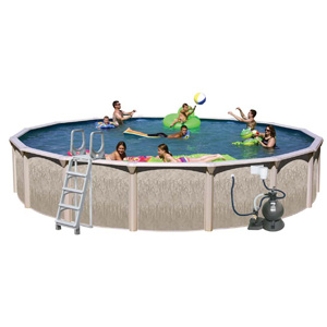 "Galveston 27' Round 52"" Above Ground Complete Deluxe Pool Package"