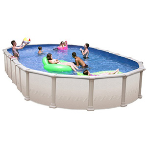 "Paragon 52"" Deep Slim Style Oval Resin/Steel Above Ground Pool, 30' x 15'"