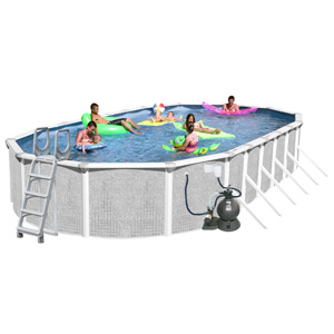 "Tango 33' x 18' Oval 52"" Above Ground Complete Deluxe Pool Package"