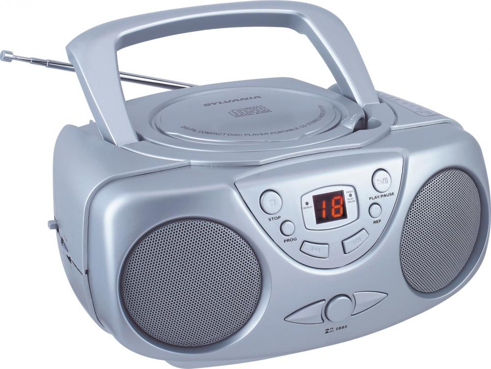 Sylvania SRCD243 AM/FM Portable CD Boom Box, Silver