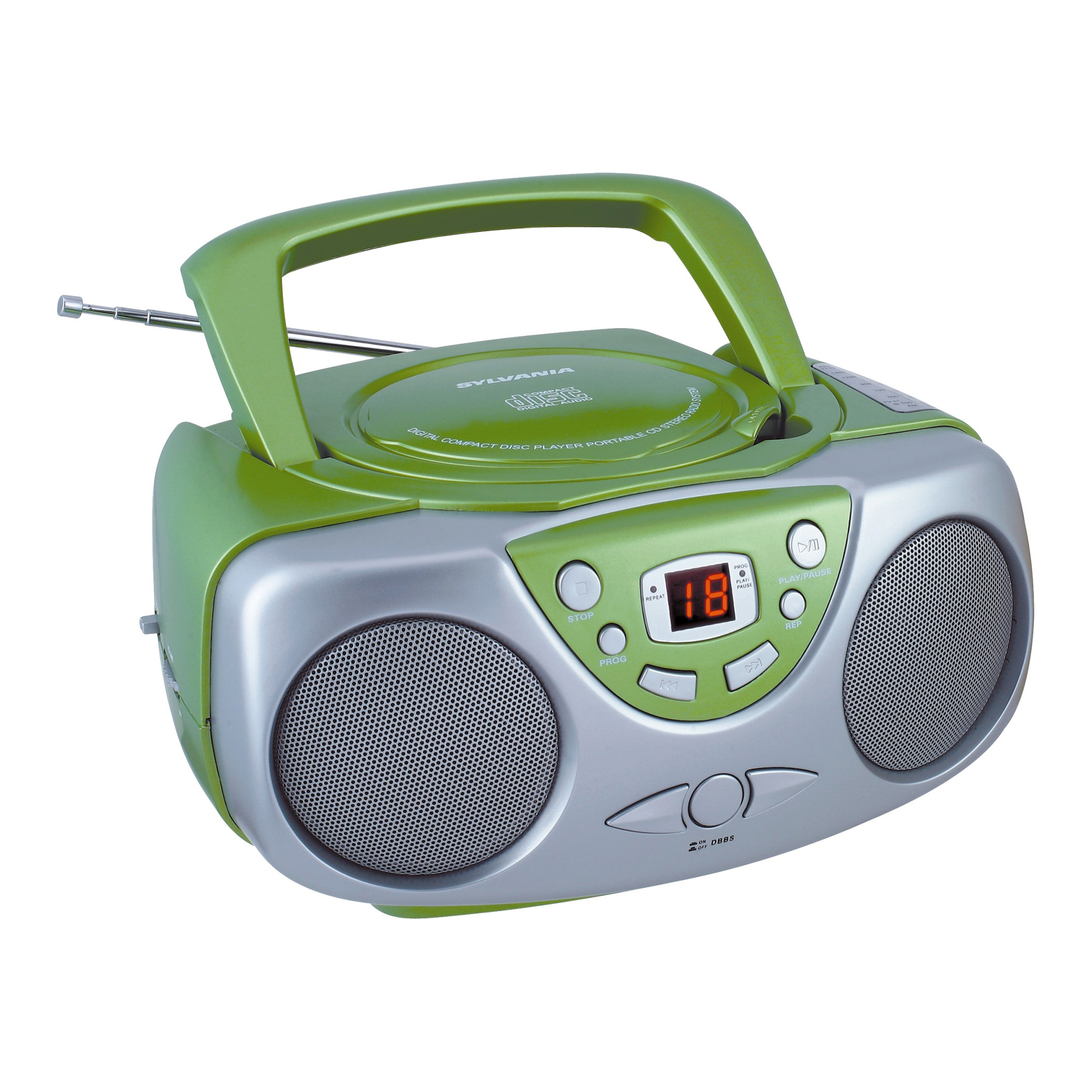 Sylvania Portable AM/FM CD Boombox with AUX Line-in, Green