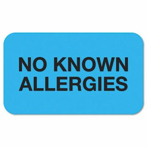 """No Known Allergies"" Medical Labels, 7/8 x 1-1/2, Light Blue, 250/Roll"