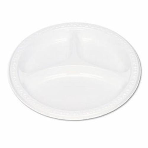 "Plastic Dinnerware, Compartment Plates, 9"" dia, White, 125/Pack"