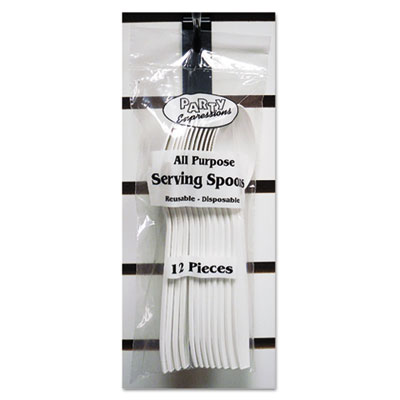 """Serving Spoons, White, 9"""", 12/Pack"""