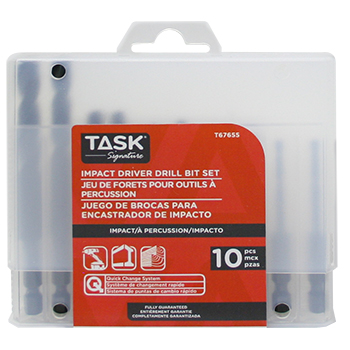 10pc HSS Impact Drill Bit Set - Plastic Case