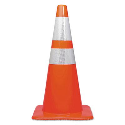 Traffic Cone, 28h x 14w x 14d, Orange/Silver