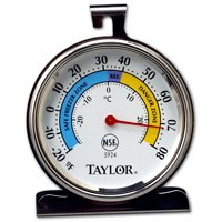 Taylor 5924 Refrigerator/Freezer Thermometer, -20 to 80 Deg F, 3-1/4 in