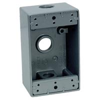 Teddico/BWF 1503-1 Weatherproof Electrical Outlet Box, 1 Gang, 97.3 cu-in, 4-9/16 in L X 2-13/16 in W X 2 in D