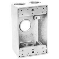 Teddico/BWF 1504W-1 Weatherproof Electrical Outlet Box, 1 Gang, 97.3 cu-in, 4-9/16 in L X 2-13/16 in W X 2 in D