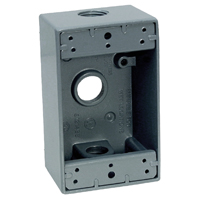 Teddico/BWF 1753-1 Weatherproof Electrical Outlet Box, 1 Gang, 97.3 cu-in, 4-9/16 in L X 2-13/16 in W X 2 in D