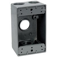 Teddico/BWF 1754-1 Weatherproof Electrical Outlet Box, 1 Gang, 97.3 cu-in, 4-9/16 in L X 2-13/16 in W X 2 in D