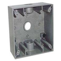 Teddico/BWF 2530 Weatherproof Electrical Outlet Box, 2 Gang, 117.3 cu-in, 4-9/16 in L X 4-5/8 in W X 2 in D