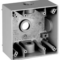Teddico/BWF 2504-1 Weatherproof Electrical Outlet Box, 2 Gang, 117.3 cu-in, 4-9/16 in L X 4-5/8 in W X 2 in D