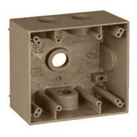 Teddico/BWF 2504AB-1 Weatherproof Electrical Outlet Box, 2 Gang, 117.3 cu-in, 4-9/16 in L X 4-5/8 in W X 2 in D