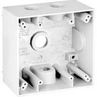 Teddico/BWF 2504W-1 Weatherproof Electrical Outlet Box, 2 Gang, 117.3 cu-in, 4-9/16 in L X 4-5/8 in W X 2 in D