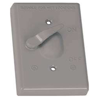 Teddico/BWF 611-1 Weatherproof Toggle Switch Cover With Switch, 4-9/16 in L X 2-13/16 in W, Gray, Die Cast Metal
