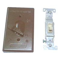 Teddico/BWF 611AB-1 Weatherproof Toggle Switch Cover With Switch, 4-9/16 in L X 2-13/16 in W, Bronze, Die Cast Metal