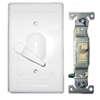 Teddico/BWF 611W-1 Weatherproof Toggle Switch Cover With Switch, 4-9/16 in L X 2-13/16 in W, White, Die Cast Metal