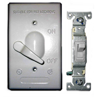 Teddico/BWF 613-1 Weatherproof Toggle Switch Cover With 3-Way Switch, 4-9/16 in L X 2-13/16 in W, Gray, Die Cast Metal