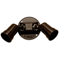 Teddico/BWF 93102AB-1 Dual Lamp Holder With 3 Hole Round Cover, 75 W, Incandescent, Bronze, Die Cast Metal