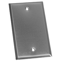 Teddico/BWF BC-1V Rectangular Weatherproof Blank Cover, 4-9/16 in L X 2-13/16 in W, Gray, Stamped Steel
