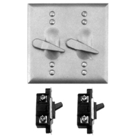 Teddico/BWF TS-21V Square Weatherproof Toggle Switch Cover With 2 Switches, 4-9/16 in W X 4-9/16 in D, Gray