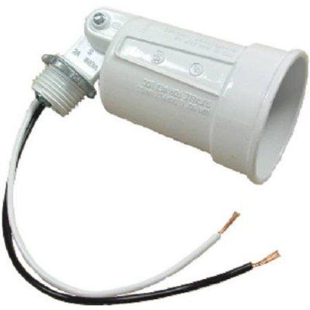 Teddico/BWF H-1WV Floodlight Lamp Holder, 150 W, Incandescent, White, Die Cast