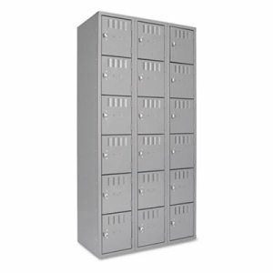 Box Compartments, Triple Stack, 36w x 18d x 72h, Medium Gray
