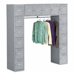 Sixteen Box Compartments & Coat Bar, 72w x 18d x 72h, Medium Gray