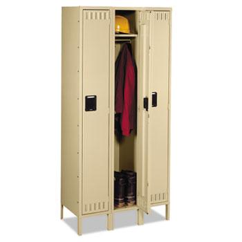 Single Tier Locker with Legs, Three Units, 36w x 18d x 78h, Sand