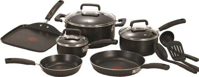 T-FAL C111SC74 Non-Stick Cookware Set, 12 Pieces