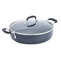 T-Fal A8428464 Non-Stick Sauce Pan With Glass Lid, 5 qt, 12 in Dia, Aluminum, Black