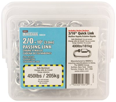 PASSING LINK CHAIN, ZINC, 3/16 IN. X 10 FT.