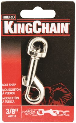 BOLT SNAP WITH ROUND SWIVEL, NICKEL PLATED, 3/8 IN., 1 PER CARD