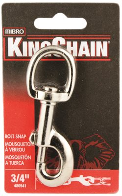BOLT SNAP WITH ROUND SWIVEL, NICKEL PLATED, 3/4 IN., 1 PER CARD