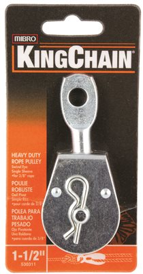 HEAVY DUTY PULLEY, SINGLE SHEAVE WITH SWIVEL EYE, ZINC, 1-1/2 IN., 1 PER CARD