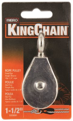PULLEY, SINGLE SHEAVE WITH FIXED EYE, ZINC, 1-1/2 IN., 1 PER CARD