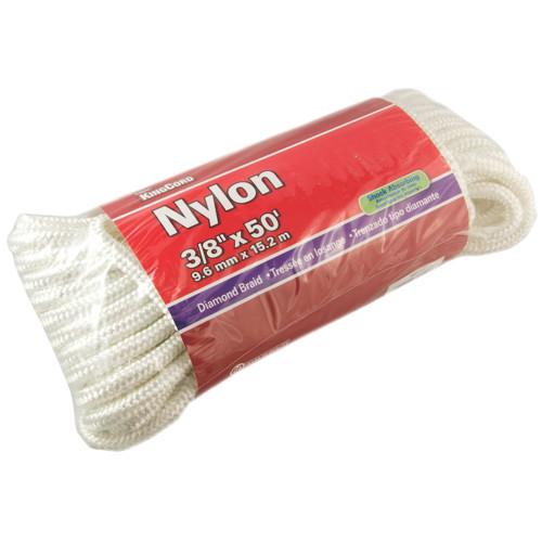 NYLON DIAMOND BRAID, WHITE, 3/8 IN. X 50 FT.