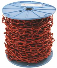 PVC COATED TENSO CHAIN, RED, 1/0 X 98 FT.