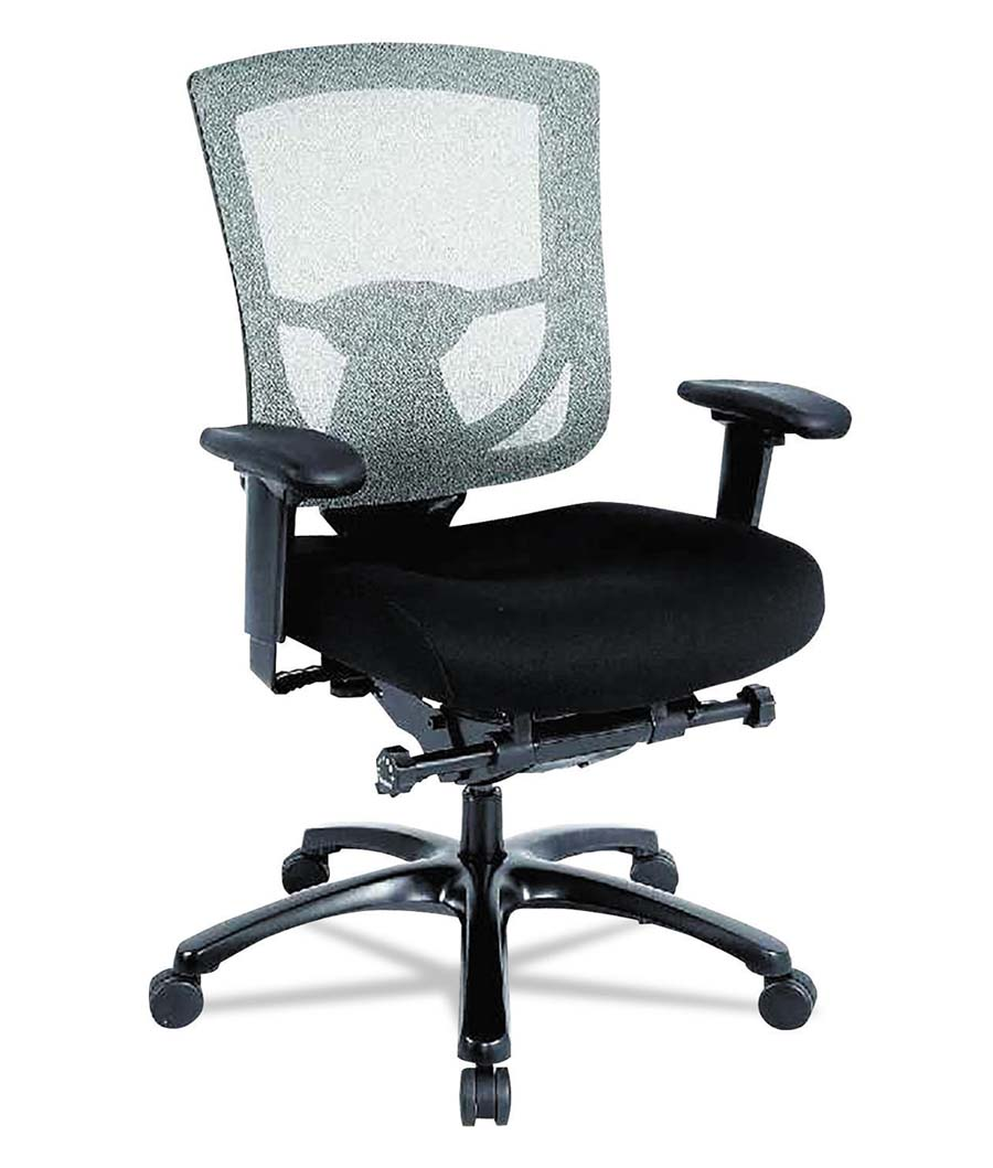 600 Mesh-Back Multifunction Chair, Black Fabric Seat/Black Mesh Back