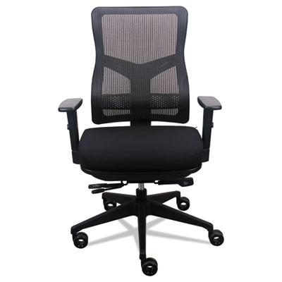 200 Mesh-Back Multifunction Chair, Black Fabric Seat/Black Mesh Back