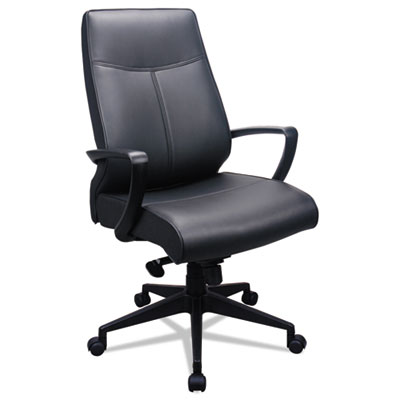 300 Leather High-Back Chair, Black Leather Seat/Back