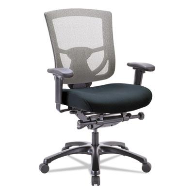 600 Mesh-Back Multifunction Chair, Black Fabric Seat/Slate Mesh