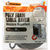 Frost King C21H Caulk Saver, 3/8 in W x 20 ft L, Polyfoam , Gray