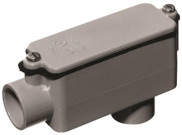 Thomas & Betts E986GR Type LB Rigid/IMC Non-Metallic Conduit Body, 1-1/4 in, 32 cu-in, SCH 40, PVC