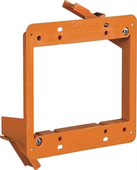 Carlon SC200RR Low Voltage Old Work Bracket, 2-Gang, PVC, Orange